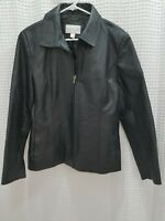 Worthington Womens Genuine Leather Jacket Large Black Zip Up