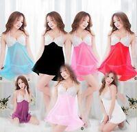 Women's Sexy Lingerie Lace Dress Underwear Babydoll Sleepwear+G-string