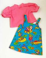 """Jumper Blouse Set for 18"""" American Girl Doll Clothes USA Whimsical Frogs Outfit"""