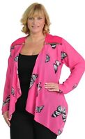 Plus Size Ladies Long Sleeve Sheer Butterfly Print Chiffon Waterfall Jacket