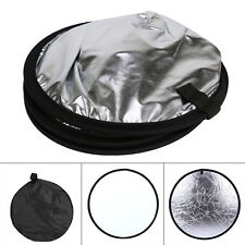 "Mulit Collapsible 31"" 80cm 2 in 1 Picture Disc Silver/White flash Reflector"