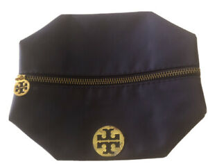 """TORY BURCH Purple Nykon Collapsible Zip Case-""""TT""""Gold Insignia-Lined-6.5H x 7.5W"""