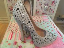 Next Pale Grey Sparkle Diamante Platform High Heels Stiletto Court Shoes Size 3