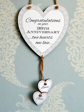 Two Hearts One Love Personalised 30th Wedding Anniversary Heart Plaque Gift Sign