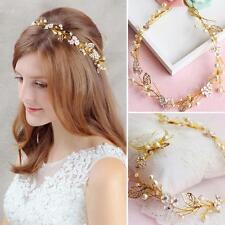 Wedding Bridal Crystal Flower Gold Hair Accessories crown Headband Tiara Jewelry