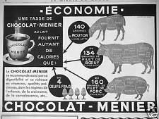 PUBLICITÉ CHOCOLAT MENIER UNE TASSE DE CHOCOLAT-MENIER FOURNIT AUTANT DE CALORIE