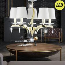 Luxus Led Luminaire Suspendu Lustre Intérieur Laiton Couvercle Tissu Lampe