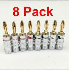 8 Pack Nakamichi 24K Gold Plated 4mm Banana Plugs Audio Speaker Connectors 8pcs