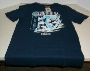 NWT - NHL -PITTSBURGH PENGUINS - SKATES - DARK BLUE T-SHIRT - LARGE - CCM