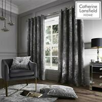 Luxury Crushed Velvet Silver Curtains by Catherine Lansfield