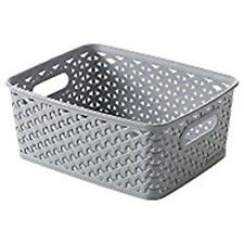 Small Curver Grey Plastic Rattan Storage Wicker Basket Paper Office 8 Litre