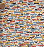 Everything but the Kitchen Sink 1930s reproduction orange blue RJR fabric