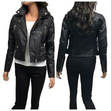 Women's Slim Tailoring Faux Leather Zipper Moto Biker PU Bomber Jacket(S-3XL)