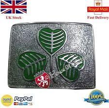 Kilt Belt Buckle Irish Shamrock Green Enamel/Scottish Belt Buckle For Kilt