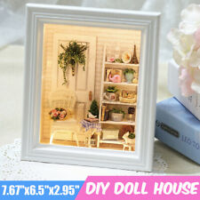 DIY LED Mini Puppenhaus aus Holz Miniatur Puppenstube in Bilderrahmen mit Möbel