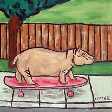 hippopotamus hippo skateboarding art tile coaster gift gifts