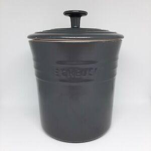 Le Creuset Stoneware Dark Grey Storage Jar With Lid Cookie Biscuit Container 2L