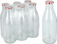Set of 6 Glass Milk Bottles with Red Lid 1 litre Vintage Glass Milk Bottle