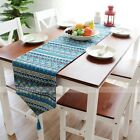 yazi Bohemia Table Runner Cotton Linen Kitchen Table Decor Tassel Red Blue