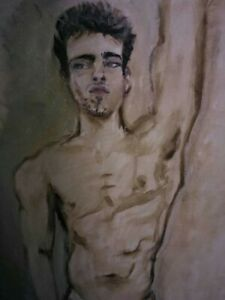 """NEW 81. """"Manu"""" Original Oil in Fashion and Male Nudes Series Georget"""