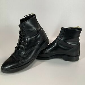 Vintage Hawkins Black Leather 8 Hole Boots Made in England 8 Dr Martens Solovair