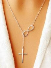 New Women Plain Infinity Cross Pendant Silver Plated Long Chain Necklace Jewelry