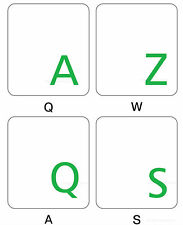 FRENCH AZERTY KEYBOARD STICKER TRANSPARENT  GREEN  LETTERS