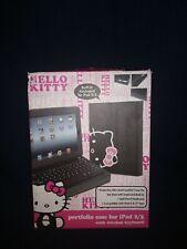Hello Kitty Black Leather case with Wireless Keyboard Bluetooth Ipad 2/3 Gen Nib
