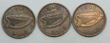 IRELAND: 3 x  HALFPENNIES 1941: 1942: 1943 (1/2d) COIN