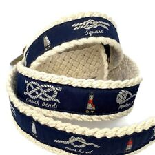 Ralph Lauren POLO Mens Navy Blue Nautical Ropes Knots Lighthouse Braided Belt