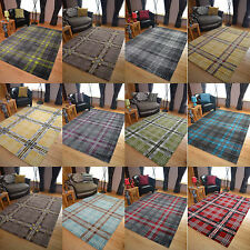 Modern Soft Tartan Highland Check Rugs Long Floor Runner Small Extra Large Cheap