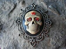 MEXICAN SUGAR SKULL (HAND PAINTED) CAMEO PENDANT, DAY OF THE DEAD, GOTH, PUNK