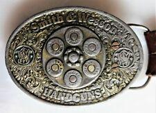 Rarität! brauner geprägter Ledergürtel 95 cm mit alter Smith & Wesson Schnalle