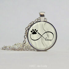 New Cabochon Glass Silver woman Pendants Necklace(Infinity love Dog Paw)