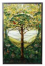"Tiffany Style ""TREE OF LIFE"" Stained Art Glass Window Panel Wall Hanging"