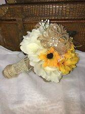 Bridesmaids Toss Wedding Bouquet Burlap  Sunflower Yellow Shabby Rustic
