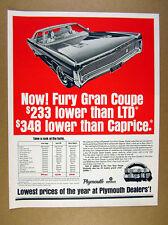 1970 Plymouth Fury Gran Coupe car illustration art vintage print Ad