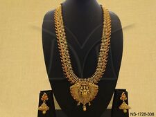 Indian Long Necklace Earrings Laxmi Temple Jewellery Ethnic Gold Plated Set