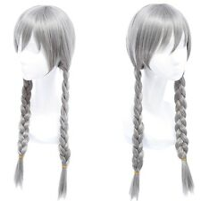 Cute Girls Judi Cosplay Wig Silvery Grey Long Braid Styled Hair Smooth Wig BN