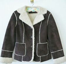 Vintage Calvin Klein Faux Brown Suede/Shearling Ranch Jacket Womens Size XS EUC