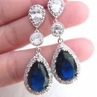 Fashion Blue Sapphire Gemstone Wedding 925 Silver Drop Dangle Earrings Jewelry