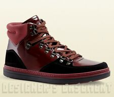 GUCCI Mens 8.5G* burgundy patent leather GREENFIELD BOOTS sneakers NIB Authentic