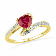 10k Yellow Gold Heart Lab-created Ruby Solitaire Diamond-accent Ring Size 10