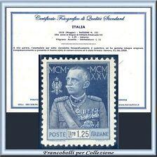 1926 Italia Regno Giubileo L. 1,25 Dent. 11 n. 191 Certific. Nuovo Integro **