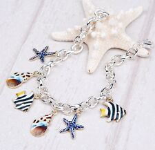 "Charm Bracelet Cable link chain Marine Animal Fish Star shell sea life 8""  s69"