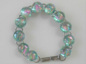 """fused 7.25""""  dichroic glass bracelet hand made crafted"""