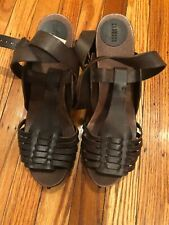 Barney's New York Women's DBrown Leather Wooden Heel Ankle Strap Sandals Size 41