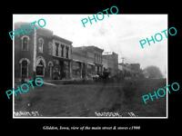 OLD LARGE HISTORIC PHOTO OF GLIDDEN IOWA, THE MAIN STREET & STORES c1900