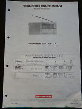 Original Service Manual  Nordmende Globemaster 2016
