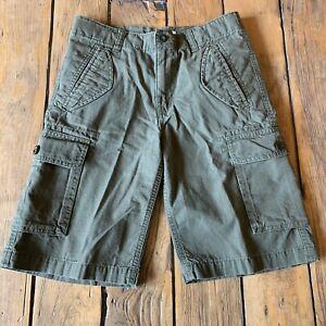 Boys Lands End Size 12 Cargo Shorts Adjustable Waist Green Khaki Pockets